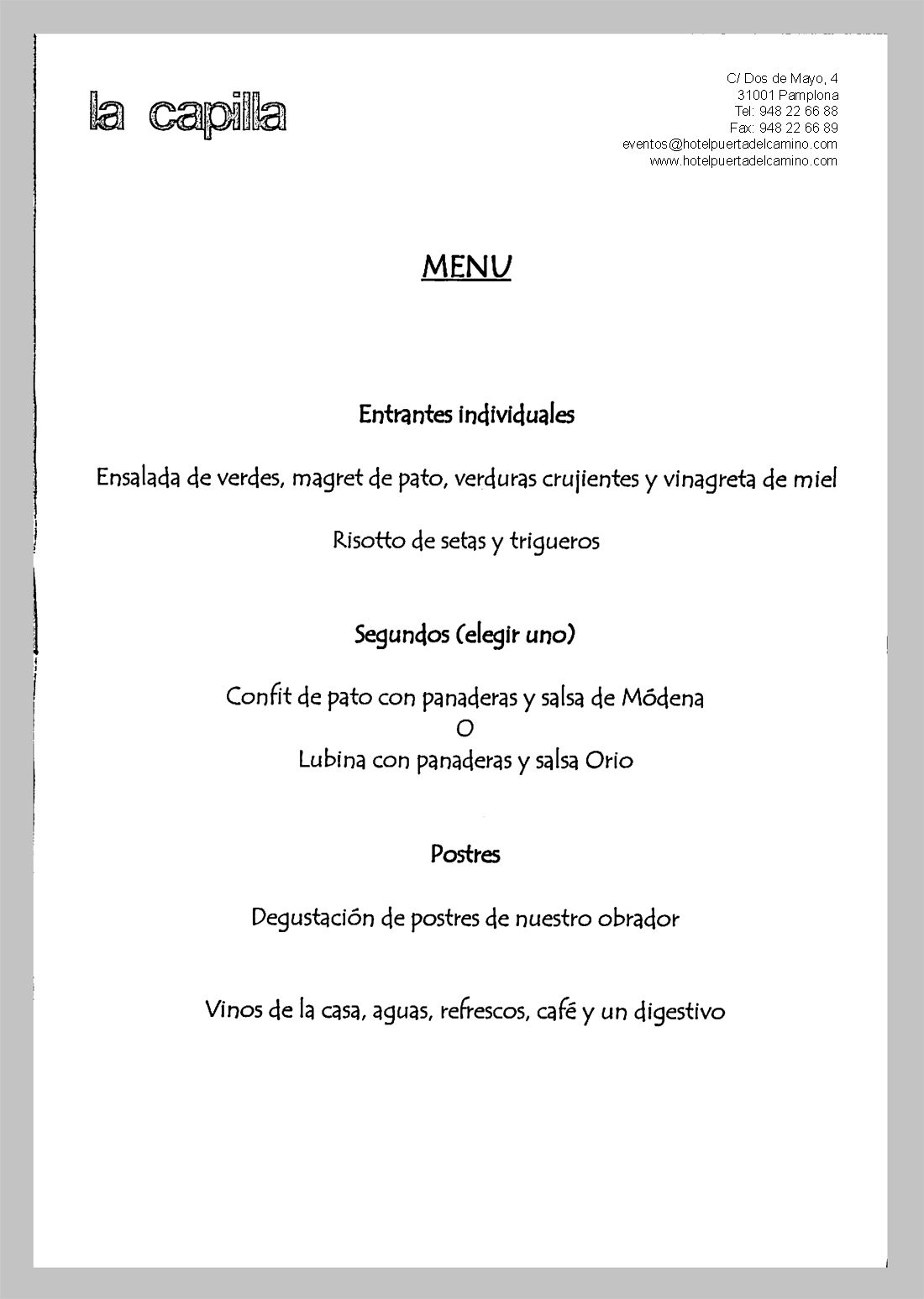 Menu Pamplona